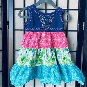Wonder Kids multi color tiered dress 18 months